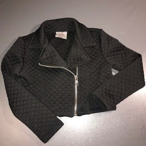 Beautees quilted moto jacket size 5 black zipper